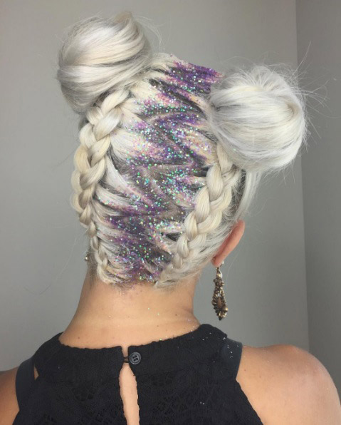 bouchy-hair-blonde-double-buns-with-zig-zag-part-glitter-roots