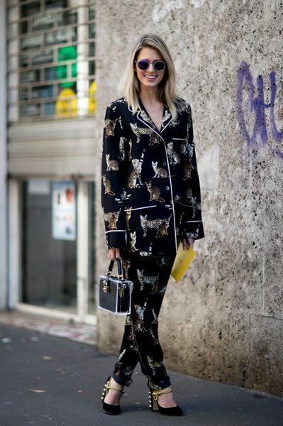 02-black-printed-pajamas-heels-street-style