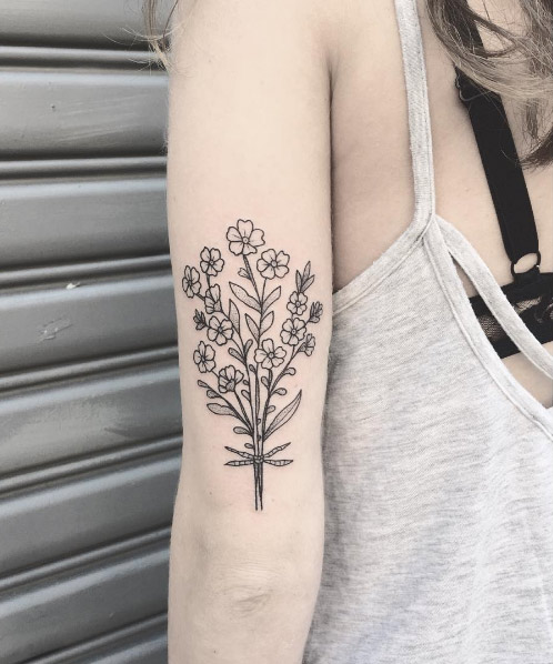 06-lillyanchor-forget-me-nots-black-line-flower-tattoo