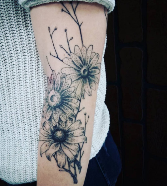 23-woodside-tattoos-black-dot-arm-flower-tattoo