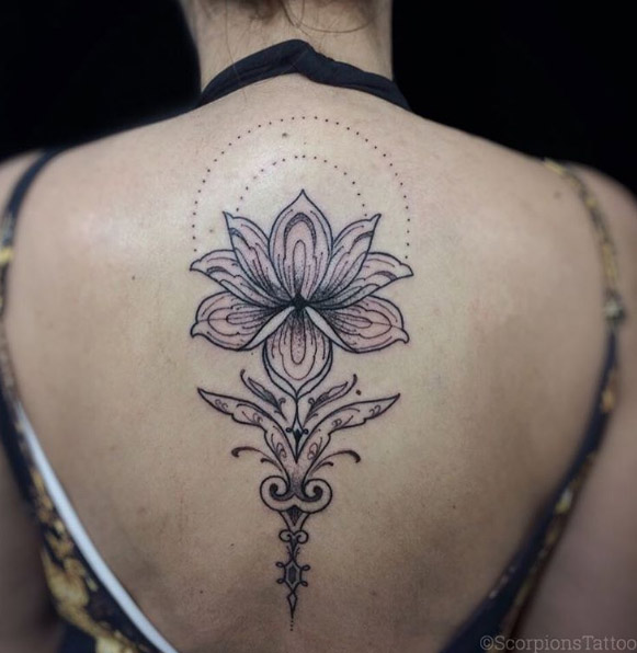 32-scorpionstattoo-black-line-lotus-back-flower-tattoo