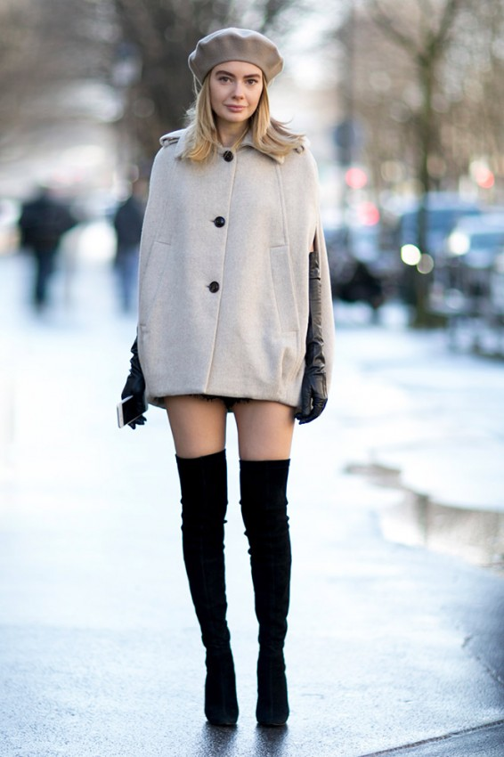 beige-cape-coat-beret-over-the-knee-boots-street-style