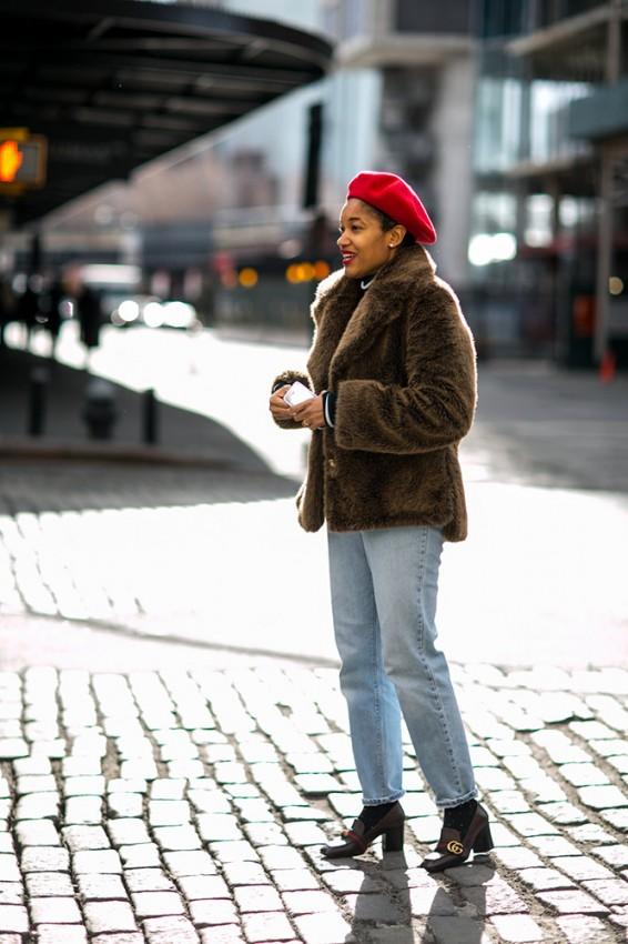 brown-fur-coat-jeans-red-beret