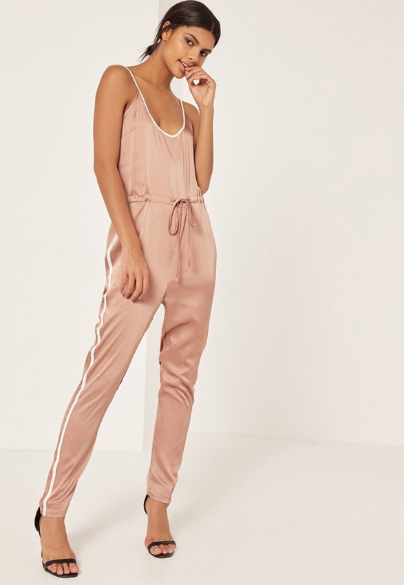 missguided-rose-gold-satin-sports-striped-strappy-jumpsuit