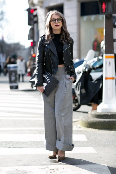 16-crop-top-leather-jacket-gray-trousers-street-style