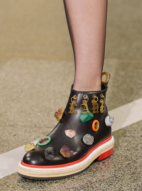LONDON, ENGLAND - SEPTEMBER 19:  Accessories a shoe detail on the runway at the Christopher Kane Spring Summer 2017 fashion show during London Fashion Week on September 19, 2016 in London, United Kingdom.  (Photo by Catwalking/Getty Images)