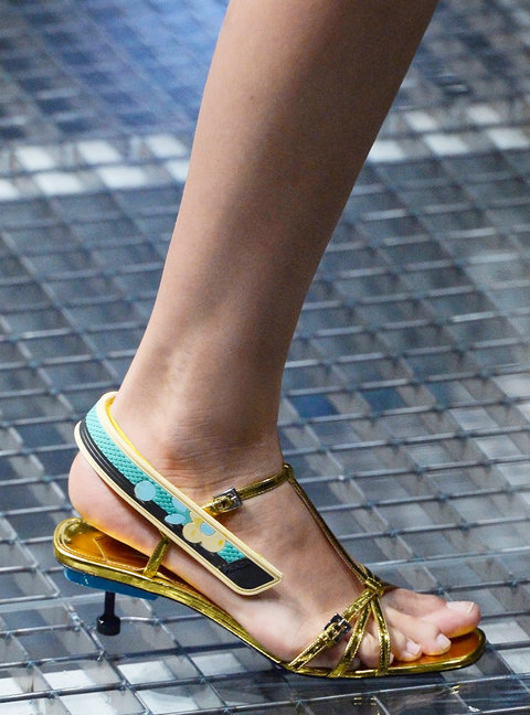 MILAN, ITALY - SEPTEMBER 22:  Accessories a shoe detail on the runway at the Prada Spring Summer 2017 fashion show during Milan Fashion Week on September 22, 2016 in Milan, Italy.  (Photo by Catwalking/Getty Images)