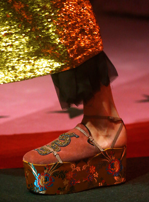 MILAN, ITALY - SEPTEMBER 21: A Shoe detail at the Gucci designed by Alessandro Michele show Milan Fashion Week Spring/Summer 2017 on September 21, 2016 in Milan, Italy. (Photo by Estrop/Getty Images)