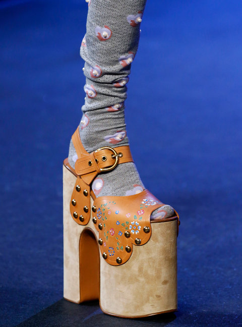 NEW YORK, NY - SEPTEMBER 15: A Shoe detail at the runway at the Marc Jacobs show on September 15, 2016 in New York City. (Photo by Estrop/WireImage)