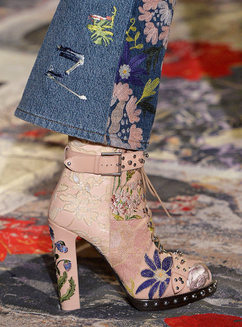 PARIS, FRANCE - OCTOBER 03:  Accessories shoe detail on the runway at the Alexander McQueen Spring Summer 2017 fashion show during Paris Fashion Week on October 3, 2016 in Paris, France.  (Photo by Catwalking/Getty Images)