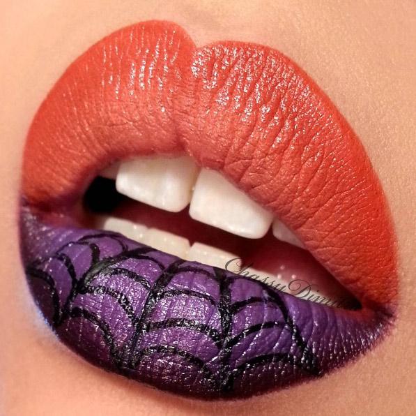 chassydimitra-orange-purple-spiderweb-halloween-lip-art