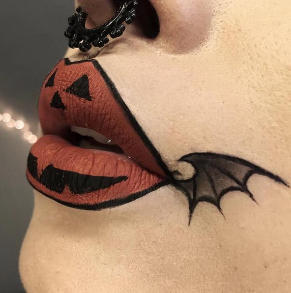 karenxbell-orange-pumpkin-bat-halloween-lip-art