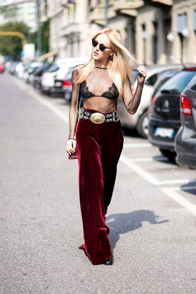11-sheer-top-bra-red-velvet-pants-street-style