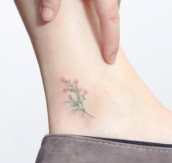 33-hello-tattoo-colored-ankle-flower-tattoo