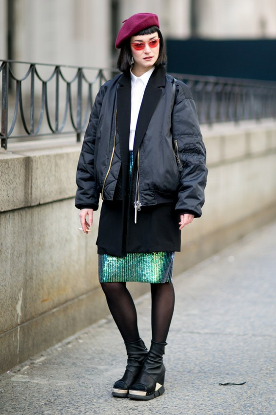 black-jacket-sequin-skirt-maroon-beret-street-style
