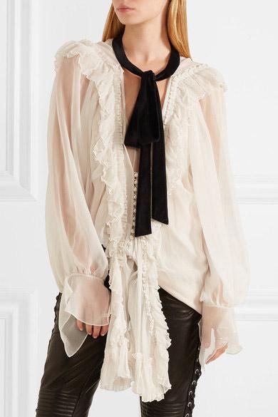 chloe_-velvet-trimmed-ruffled-silk-crepon-blouse