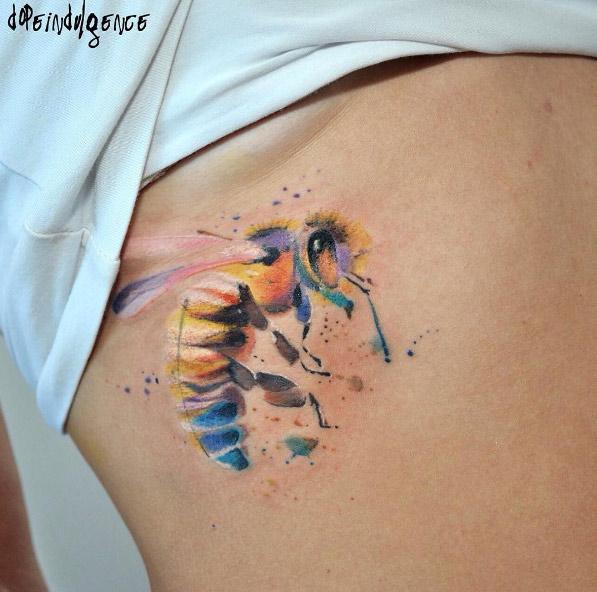 dopeindulgence-stomach-bee-watercolor-tattoo