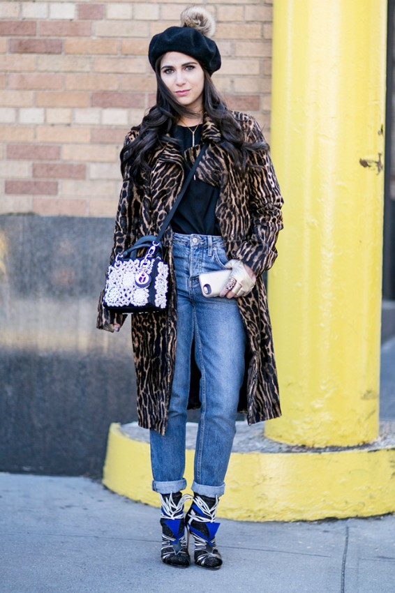 fur-coat-jeans-black-beret-street-style
