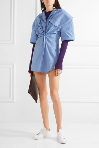 jacquemus-gathered-cotton-poplin-mini-dress