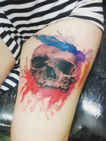 marcleonard-ink-skull-watercolor-tattoo